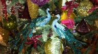 Peacock Christmas tree ornaments from Robert Legere Home in Asbury Park