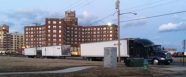 "Three of the four trucks for Springsteen's ""Wrecking Ball"" tour were parked on Kingsley Avenue Saturday, February 25."