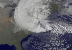 Superstorm Sandy image on October 29, 2012, courtesy of NOAA