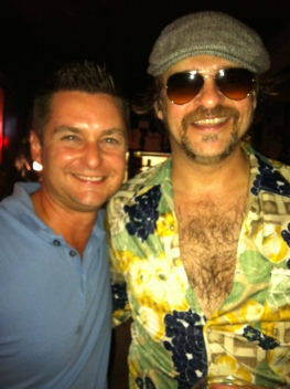 The writer with Yacht Rock Revue band member XXXXXX.