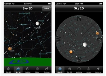 "Screen shot from the ""Planets"" smartphone app from Q Continuum.  Raise your phone to the sky and the app identifies constellations and planets while you are standing in your backyard."
