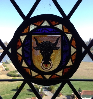 Each of the 217 original leaded glass windows at Hawshorne Mansion featured a spectacular stained glass Swiss Canton.