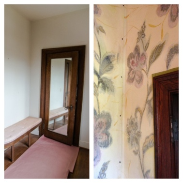 Before and after (right) photos of the two-room guest powder room features hand-painted wallpaper.