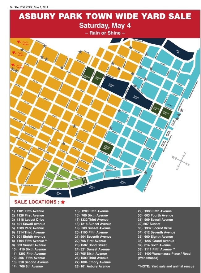 Asbury Park City-Wide Yard Sale map for Saturday, May 4, 2013.  Wanamassa Place is immediately over the Deal Lake Bridge off Sunset Avenue.