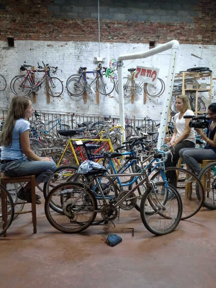 Kari Martin interviewed by CBS Evening News producer about her charity, Second Life Bikes