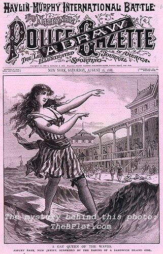 "The cover of the August 18,1888 Police Gazette features a ""Gay Queen of the Waves"" in Asbury Park.  Could the city have been home to the history-making, first-ever continental US surfing exhibition?"