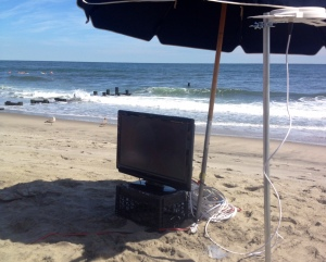Allenhurst friends were not going to miss the big game... or one of the best beach days of the year.