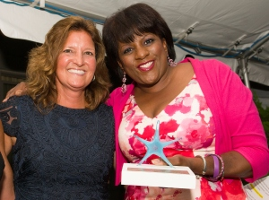 Michele Gannon with WNBC anchor Pat Battle.  Mary's Place honored Battle at a fundraiser in Ocean Grove on Saturday.