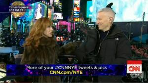 Kathy Griffin and Anderson Cooper on CNN's 2015 New Year's Eve special.