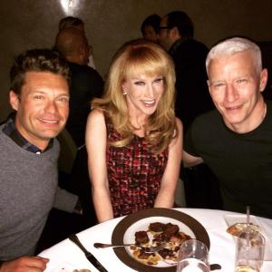 Ryan Seacrest, Kathy Griffin and Anderson Cooper the night before their respective New Year's Eve. specials.