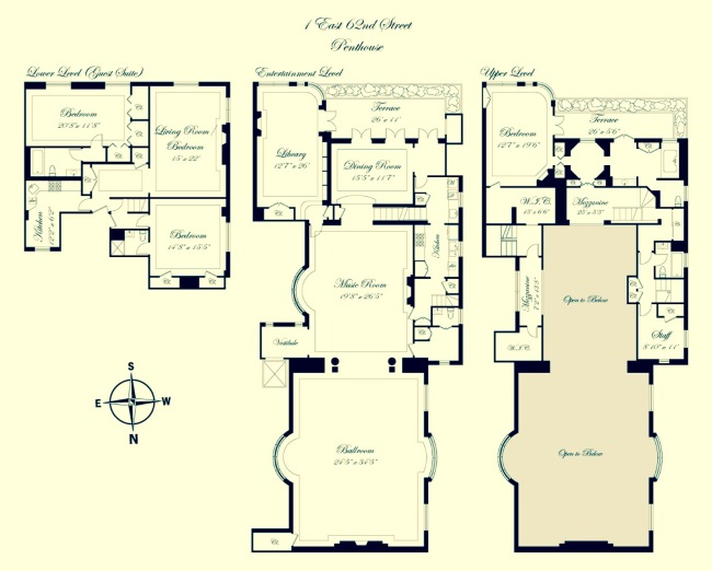 Floorplan of Joan Rivers' triplex