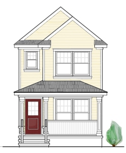 Architectural rendering of simple home Coastal Habitat for Humanity builds.