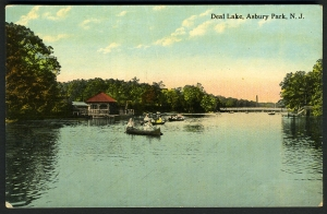 VIntage postcard of Deal Lake, Wanamassa area of Ocean Township.