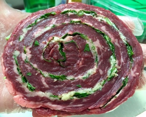 Antonio Troiano's special skirt steak pinwheels with garlic, parsley and seasonings.