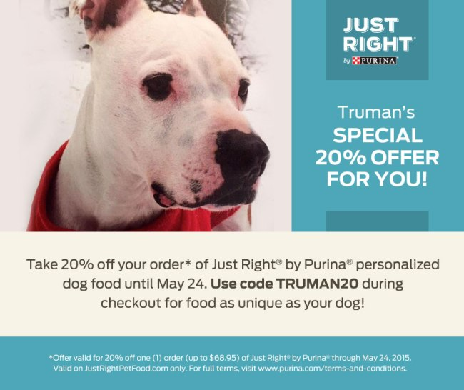 Just Right by Purina is offering you 20% off your first order of individualized dog food. Visit justrightpetfood.com or click on the image.