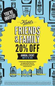 PRINT THIS to save 20% on Kiehl's products in-store or shop online using code 'FAMILY' until May 18.