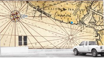 Rendering of the soon-to-be installed map mural.