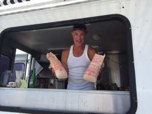 "The country's first oceanfront food truck stand opened in Asbury Park this year. Pictured is John Yarusi, aka ""Johnny Pork Roll."""