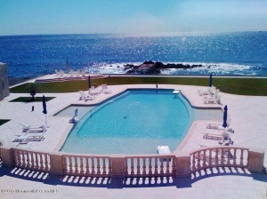 Expansive pool and ocean view from the bedrooms at Belle Mer.