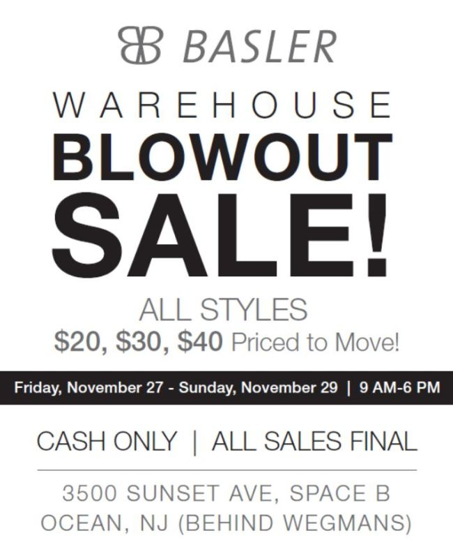 Basler Warehouse Sale features impeccably tailored sweaters, jackets, pants, blouses and more at $40 or less. Retail prices from $300 to $1100.