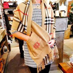 Stitch Lane in Avon will monogram scarves, handbags, baby clothing and much more.