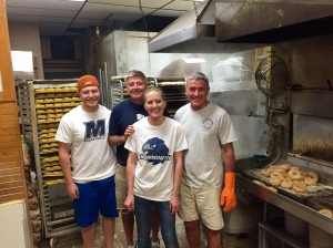 For 37 years, the Grimes family has been baking bagels using the same tools and recipe as was done 100 years ago. Pictured are Hot Bagel Bakery owners, brothers John and Dan Grimes with next generation bakers Jessica and Kyle Grimes. Not pictured are Patrick and Dave.