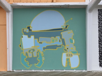 """CroboRab #8"" by Bradley Hoffer is one of the newest installations on the Sunset Pavilion. The mural is part of the waterfront's 2016 Wooden Walls Art Project sponsored by Madison Marquette and curated by Jenn Hampton of Parlor Gallery."