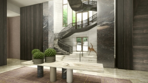 Two story lobby of the new Four Seasons Downtown.